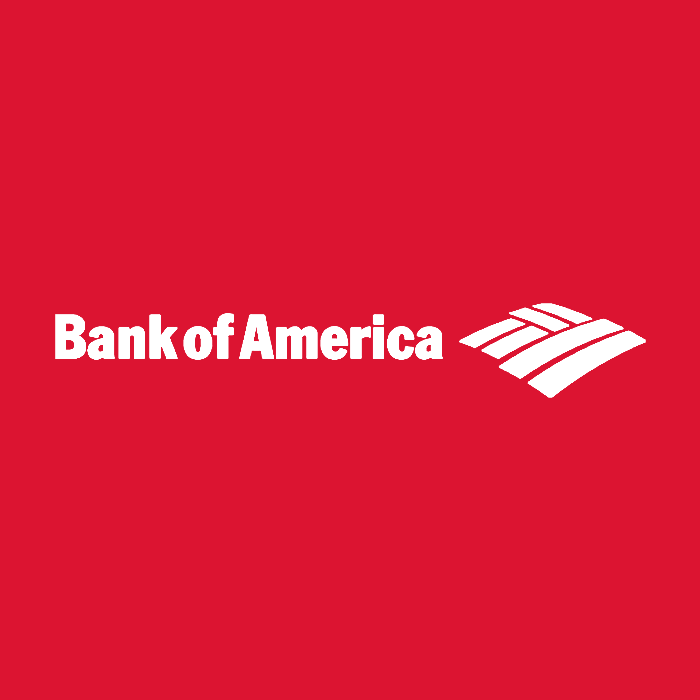 bank of america in white text and red background