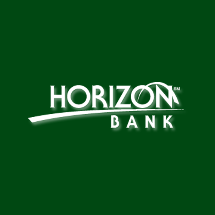 horizon bank logo in white text and dark green background