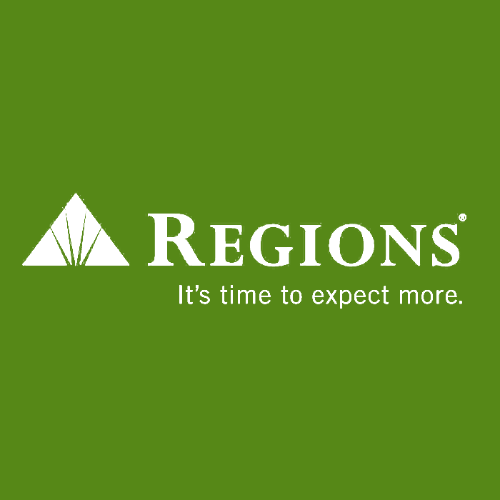 regions in white text and green background