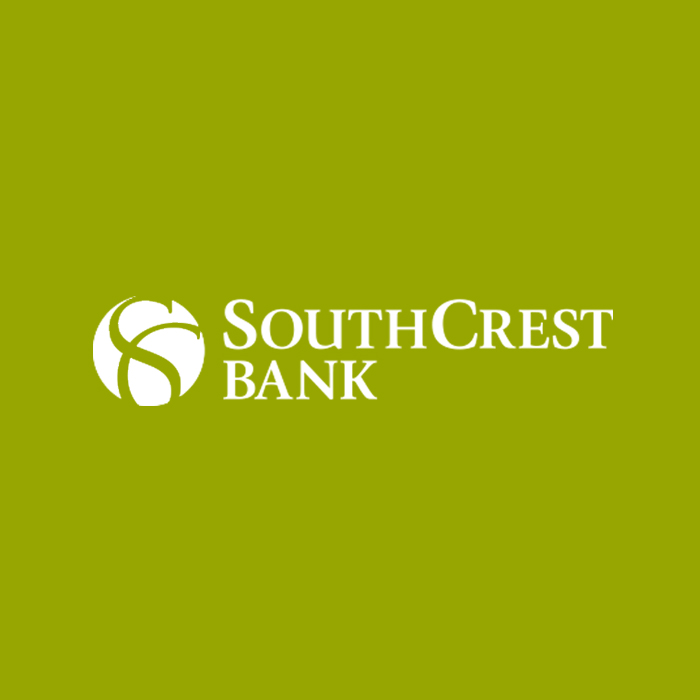south crest bank in white text and green background